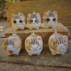"Ceramic Cat Planters, set of 6, 2.5"" Animal Pots"